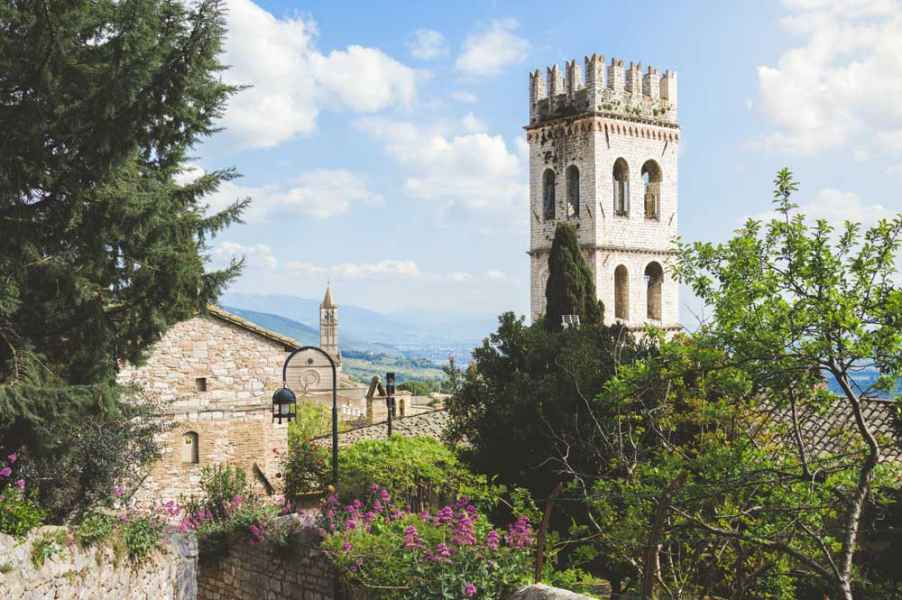 The charm of the Assisi medieval village in Umbria, Italy